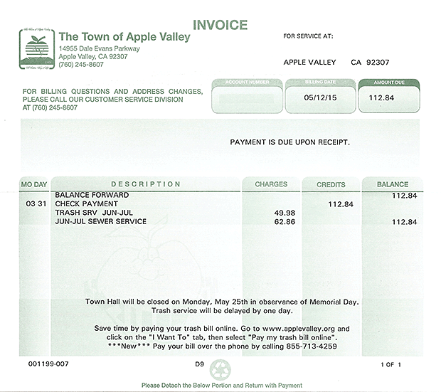 sewer bill from the Town of Apple Valley